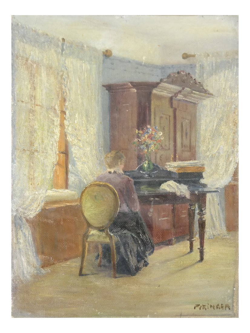 Interior Scene: Lady Seated At Desk
