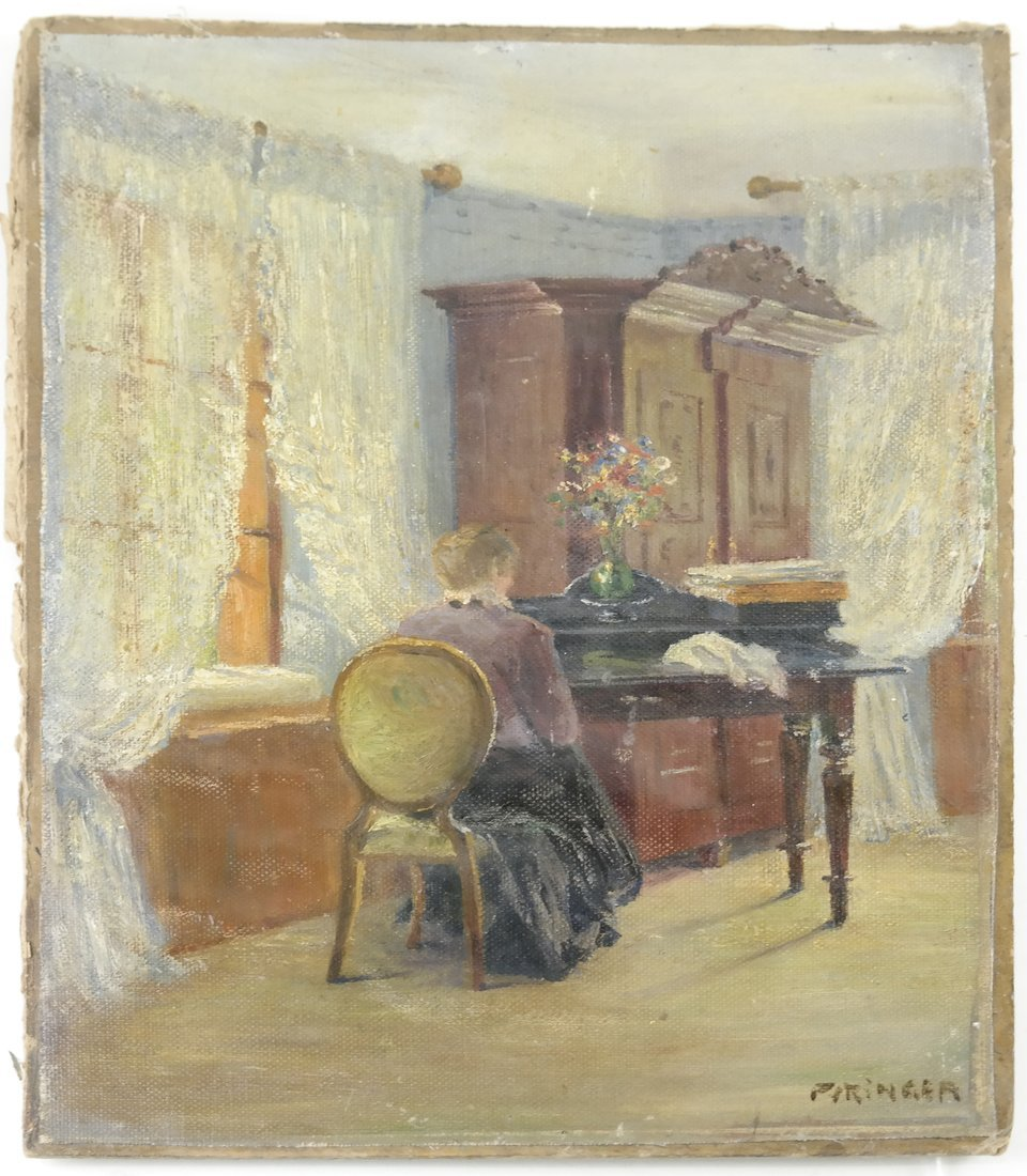 Interior Scene: Lady Seated At Desk - 2