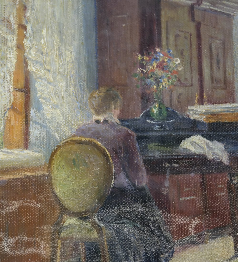 Interior Scene: Lady Seated At Desk - 4