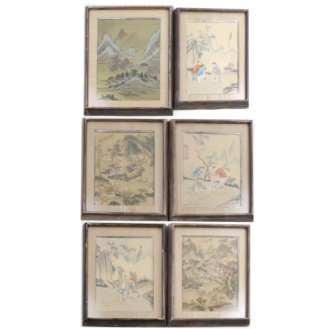 Set of 6 Chinese Colored Prints, Framed