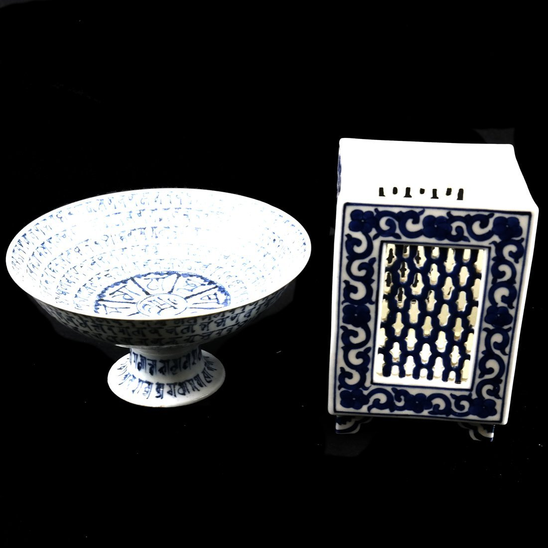 Two Asian Blue & White Decorated Objects