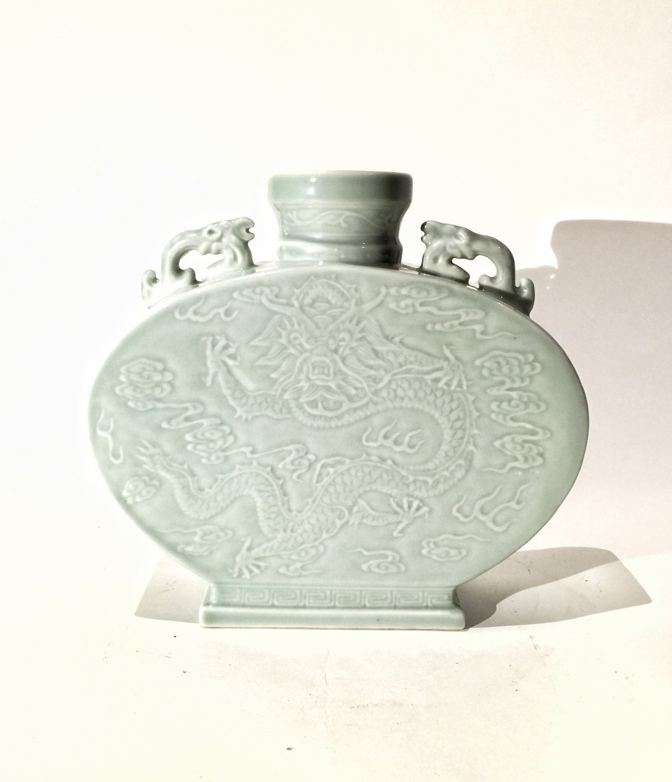 Chinese Dragon Porcelain Moon Flask