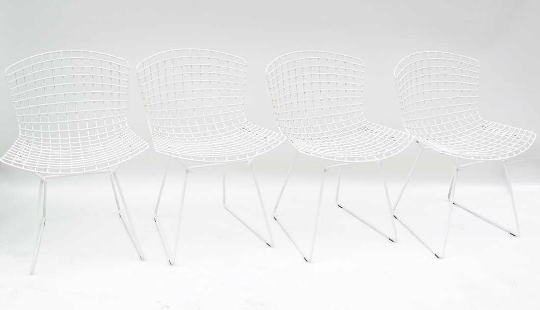 Four Bertoia For Knoll Chairs