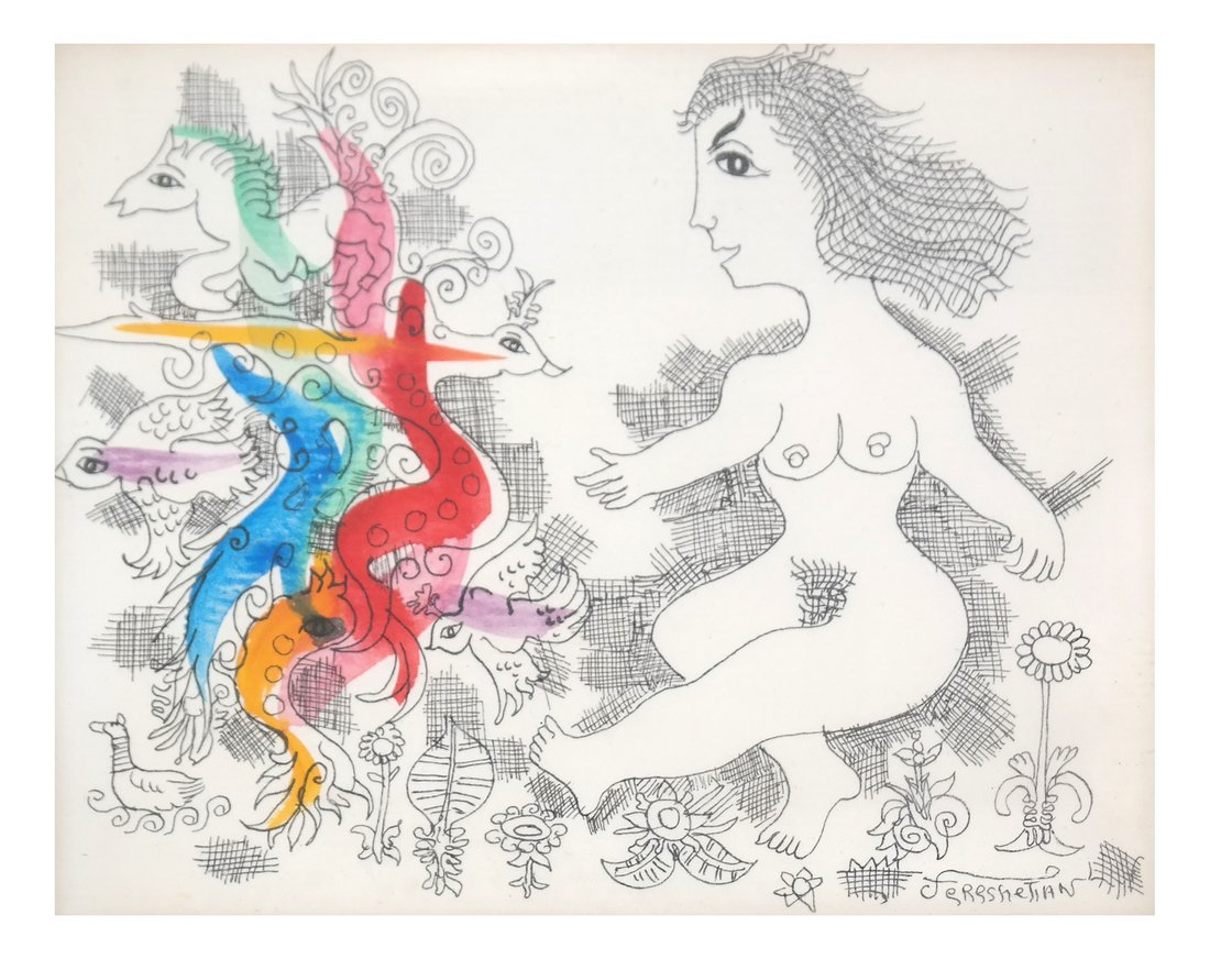 Hand-Colored Nude Etching