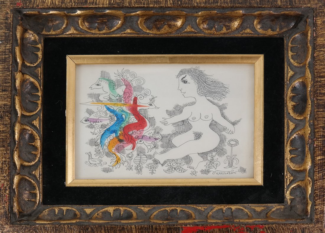 Hand-Colored Nude Etching - 2