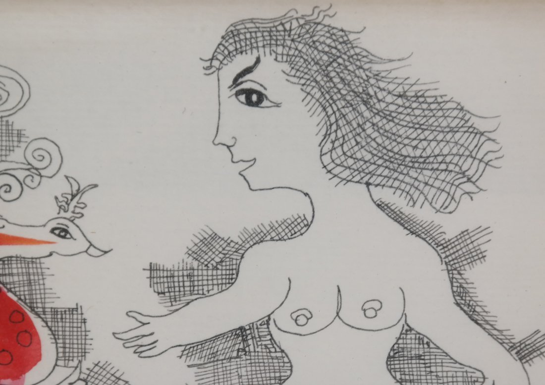Hand-Colored Nude Etching - 3