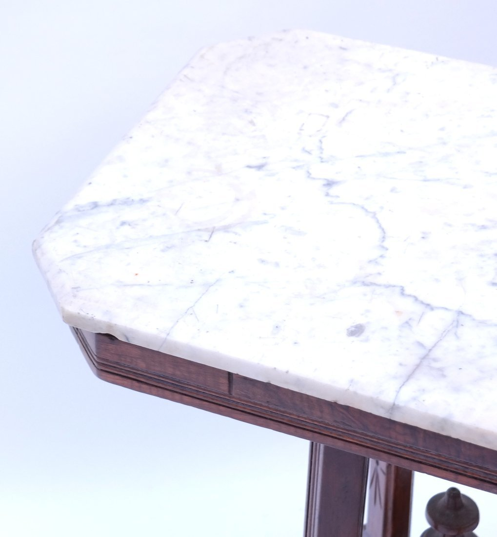 Victorian Marble-Top Side Table - 2
