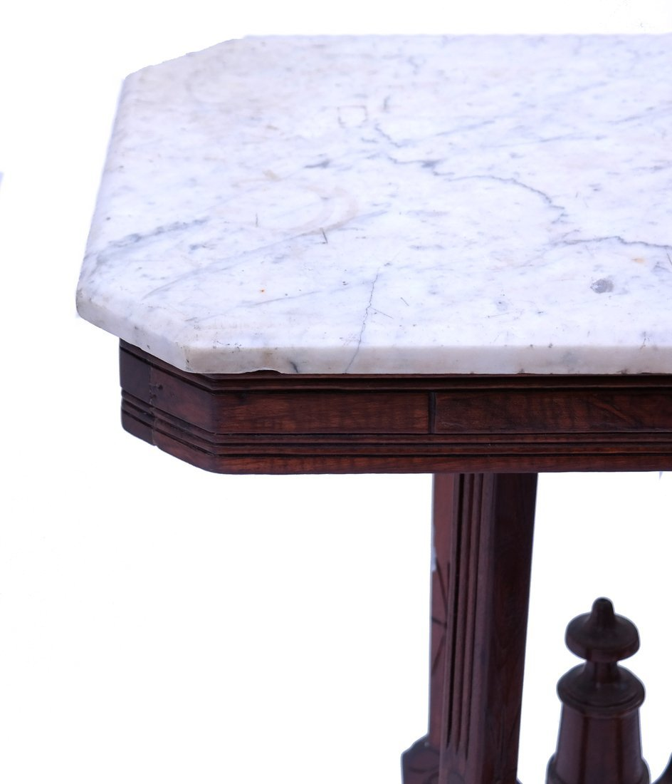 Victorian Marble-Top Side Table - 5