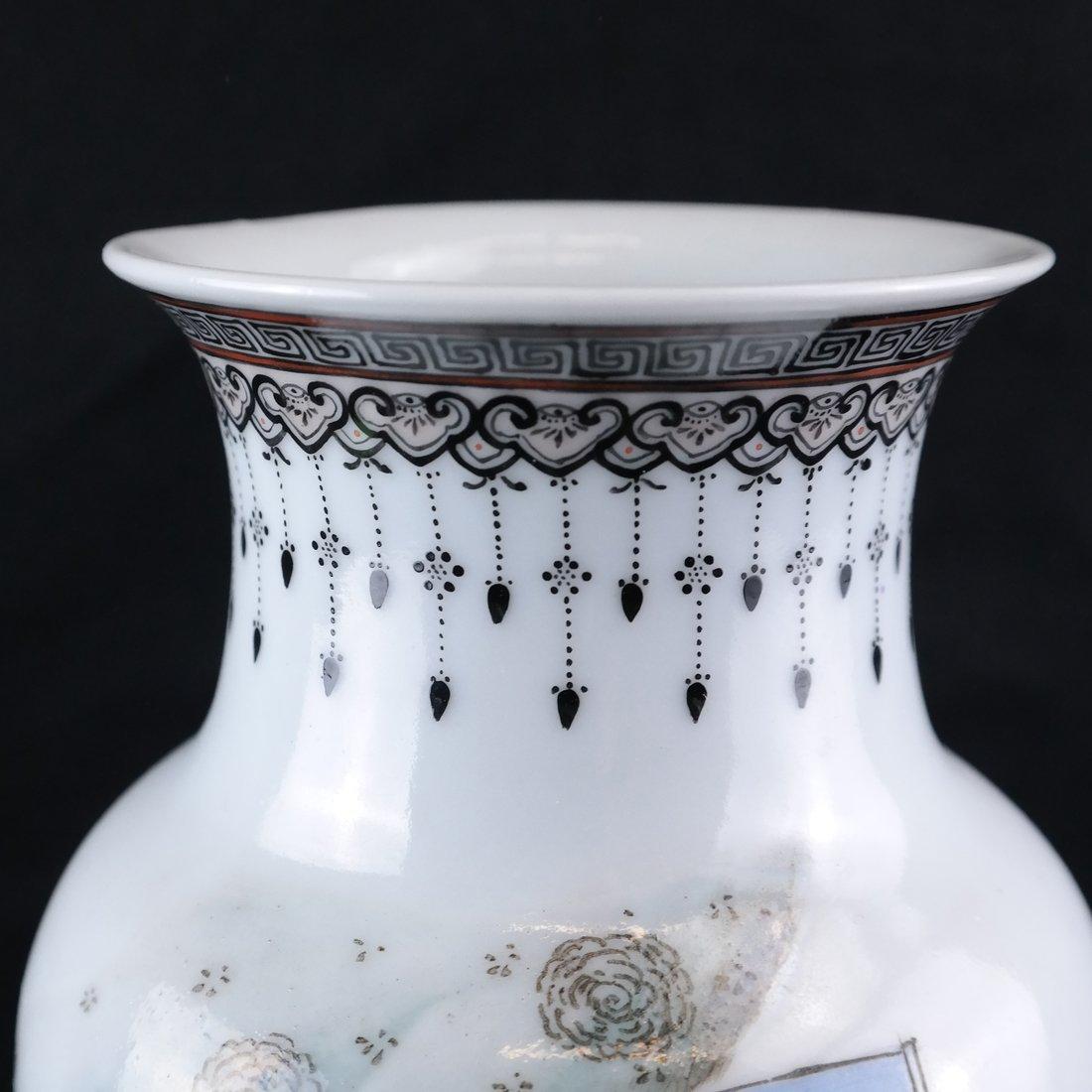 Asian-Style Porcelain Polychrome Vase - 3