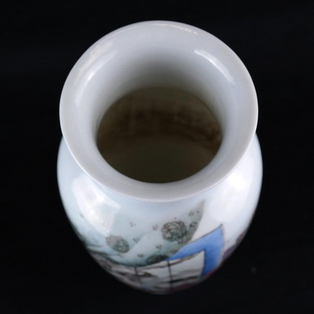 Asian-Style Porcelain Polychrome Vase - 4