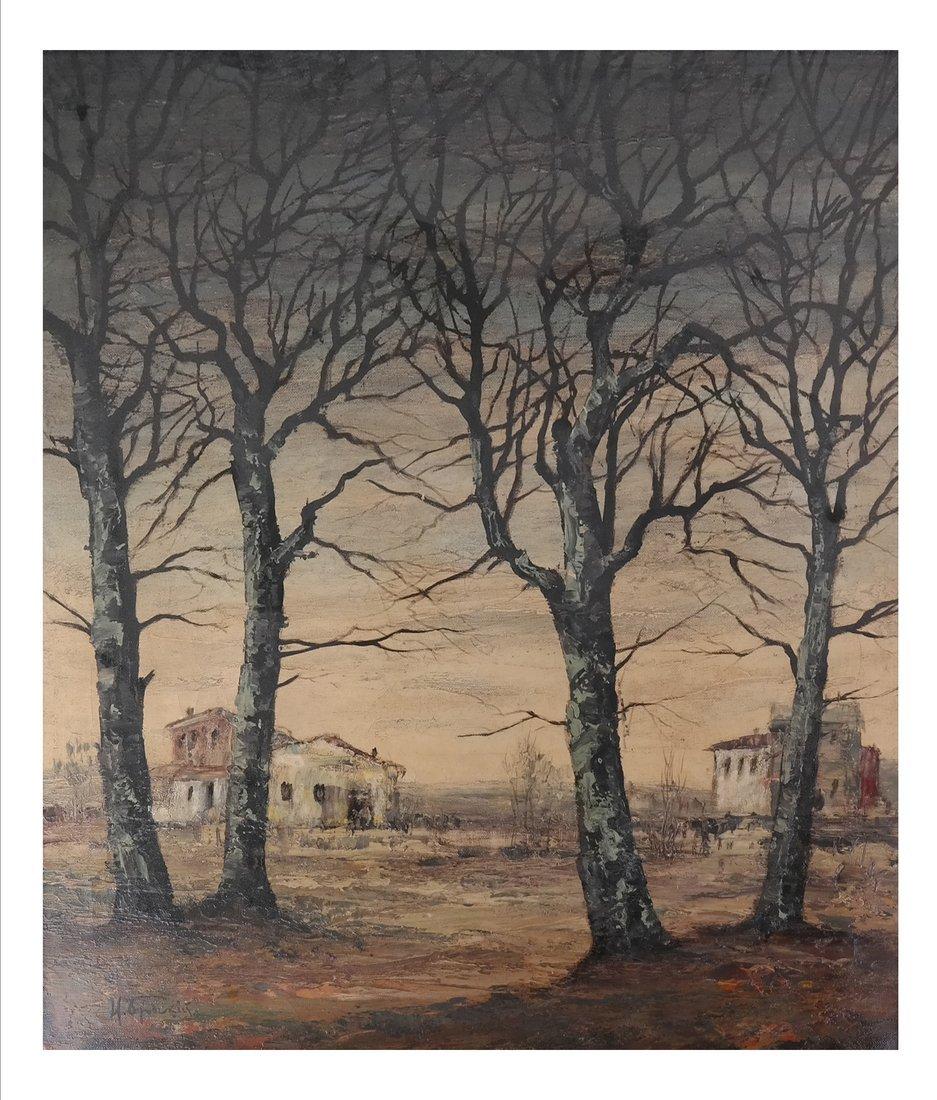 Stark Landscape Scene, Oil on Canvas