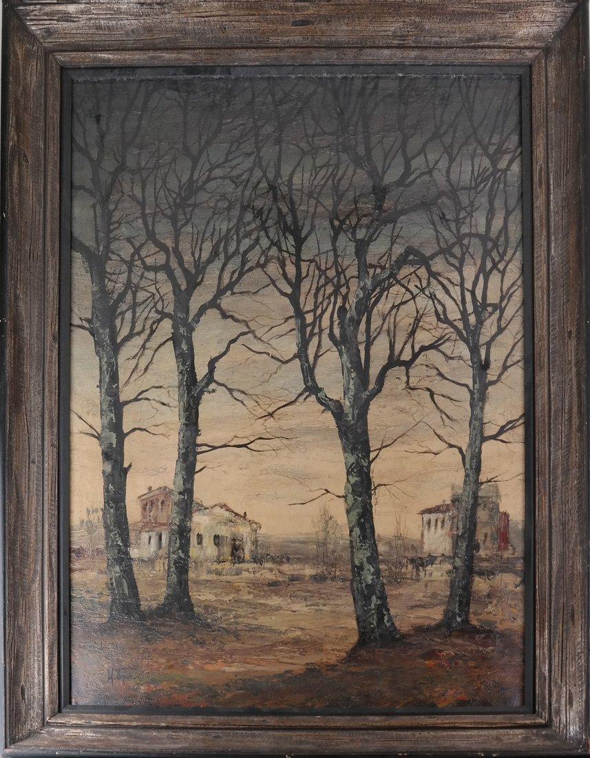 Stark Landscape Scene, Oil on Canvas - 2