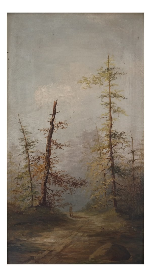 Landscape With Trees, Oil on Panel