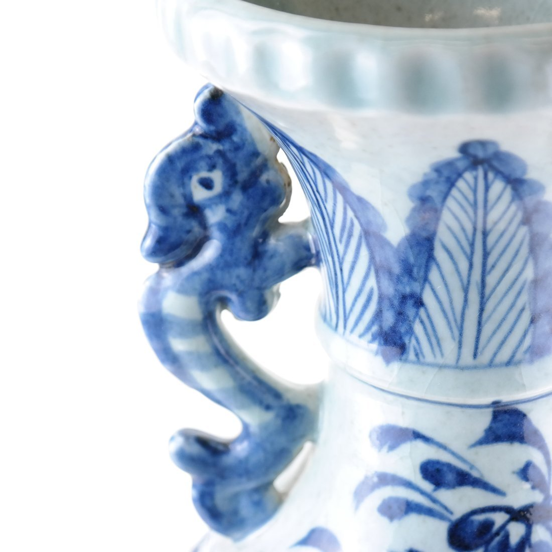 Asian-Style Blue and White Ceramic Vase - 4