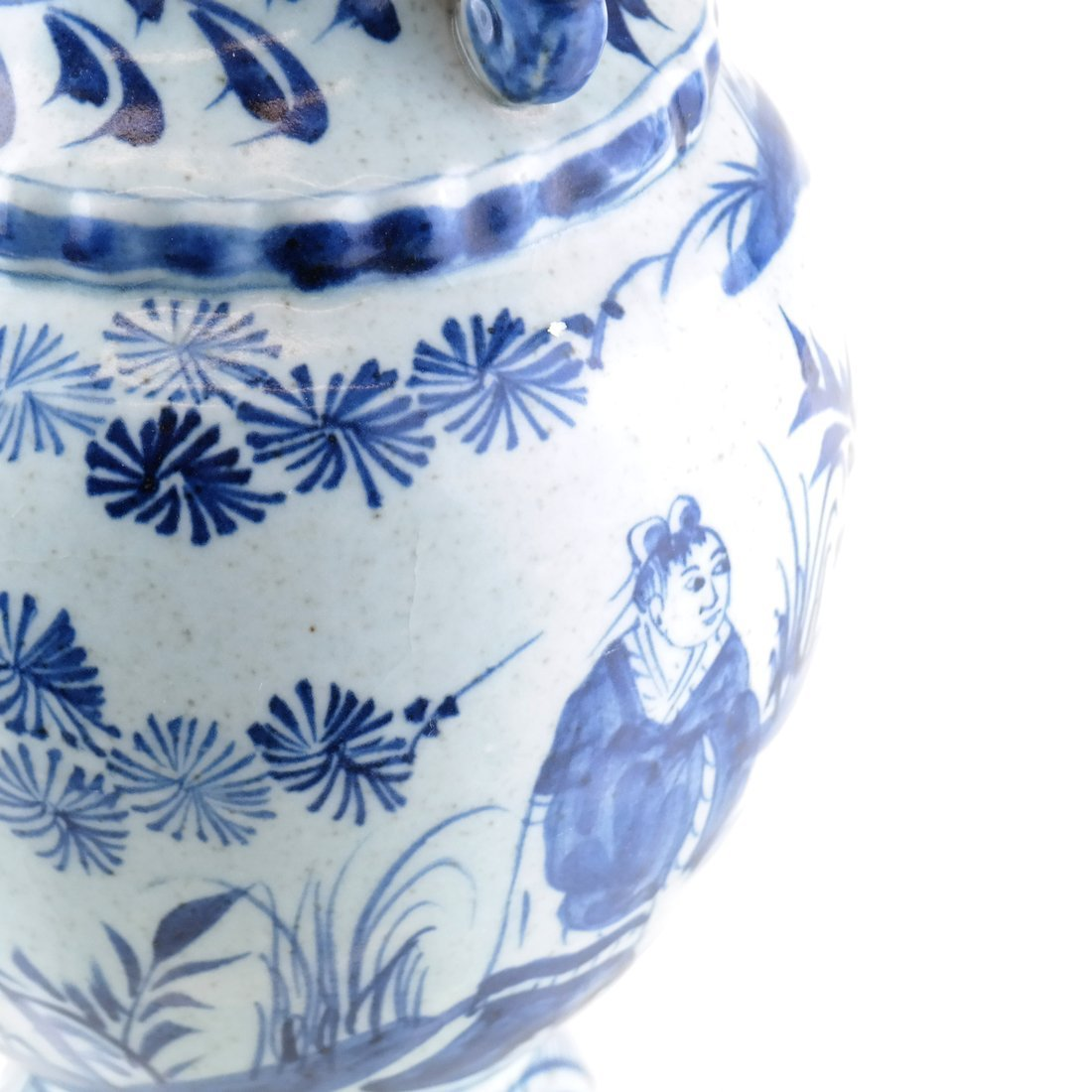 Asian-Style Blue and White Ceramic Vase - 6