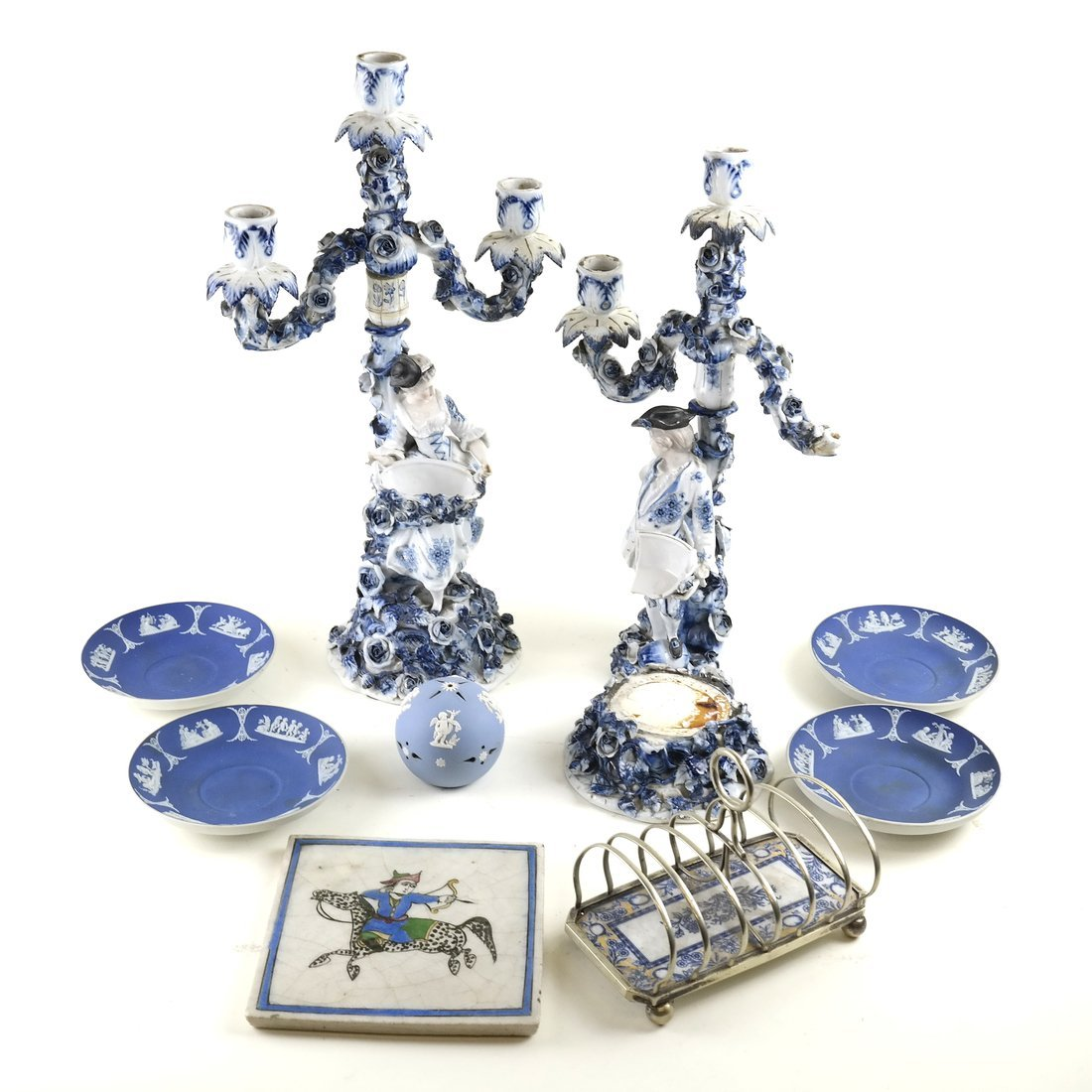 8 Asst. Blue and White Decorated Objects
