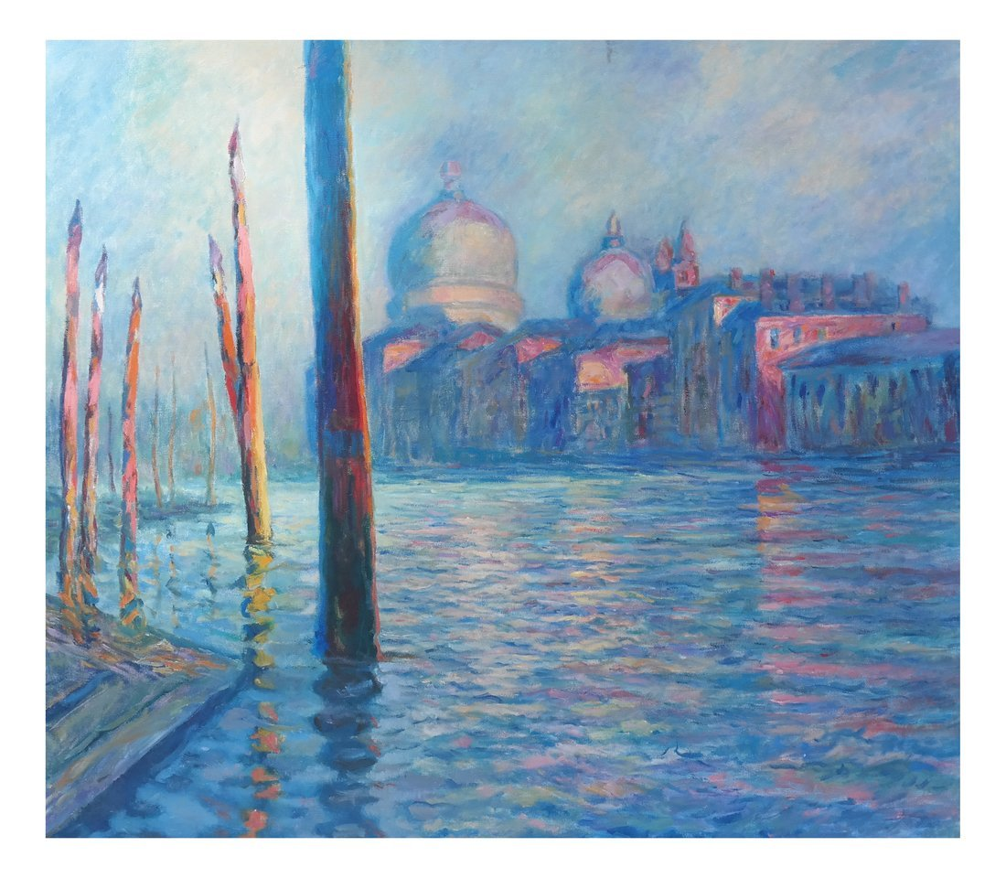 Impressionist-Style Canal Scene