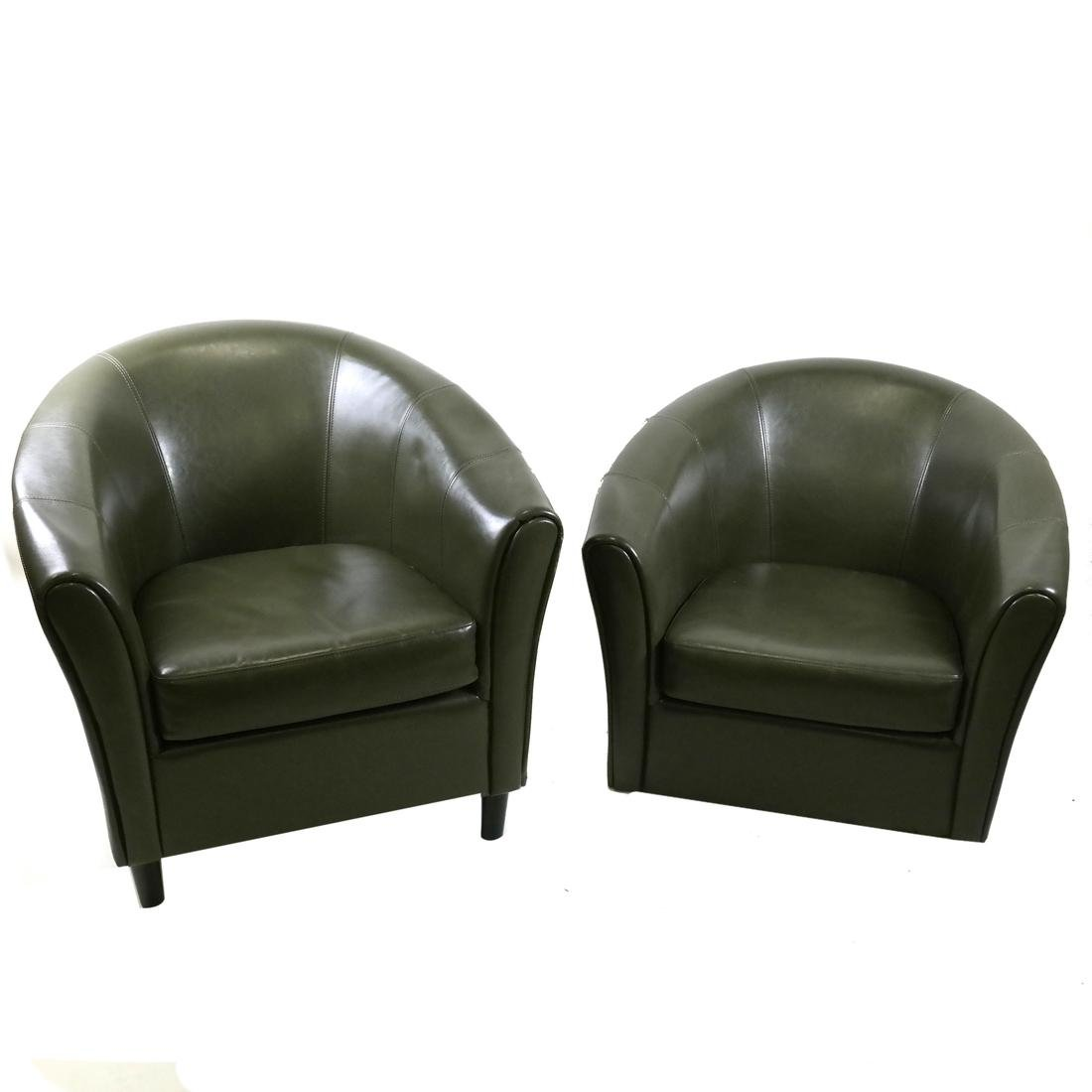 Pair of Green Club Chairs