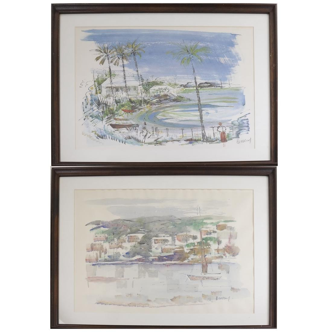 After Birdsey, Pair of Harbor Scenes, Watercolor