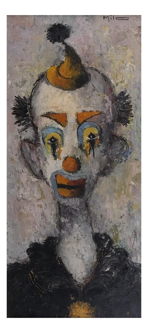 Milo, Portrait of A Clown, Oil/Board