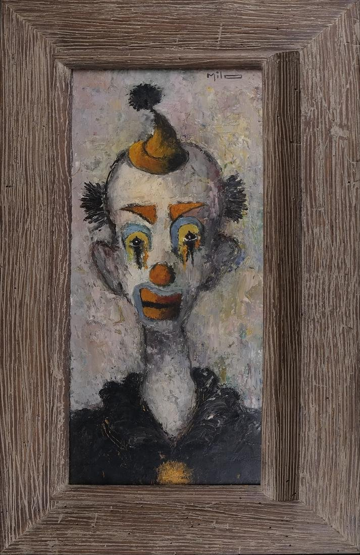 Milo, Portrait of A Clown, Oil/Board - 2