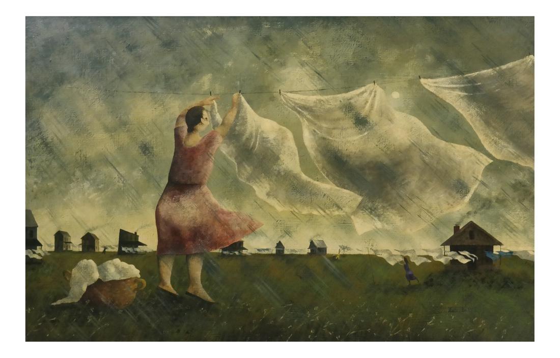 Marta Becket, Landscape With Figures, O/B