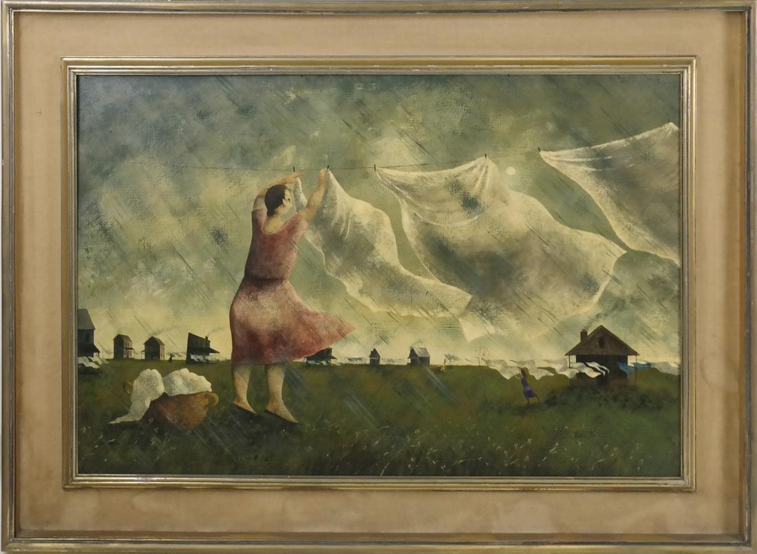 Marta Becket, Landscape With Figures, O/B - 2