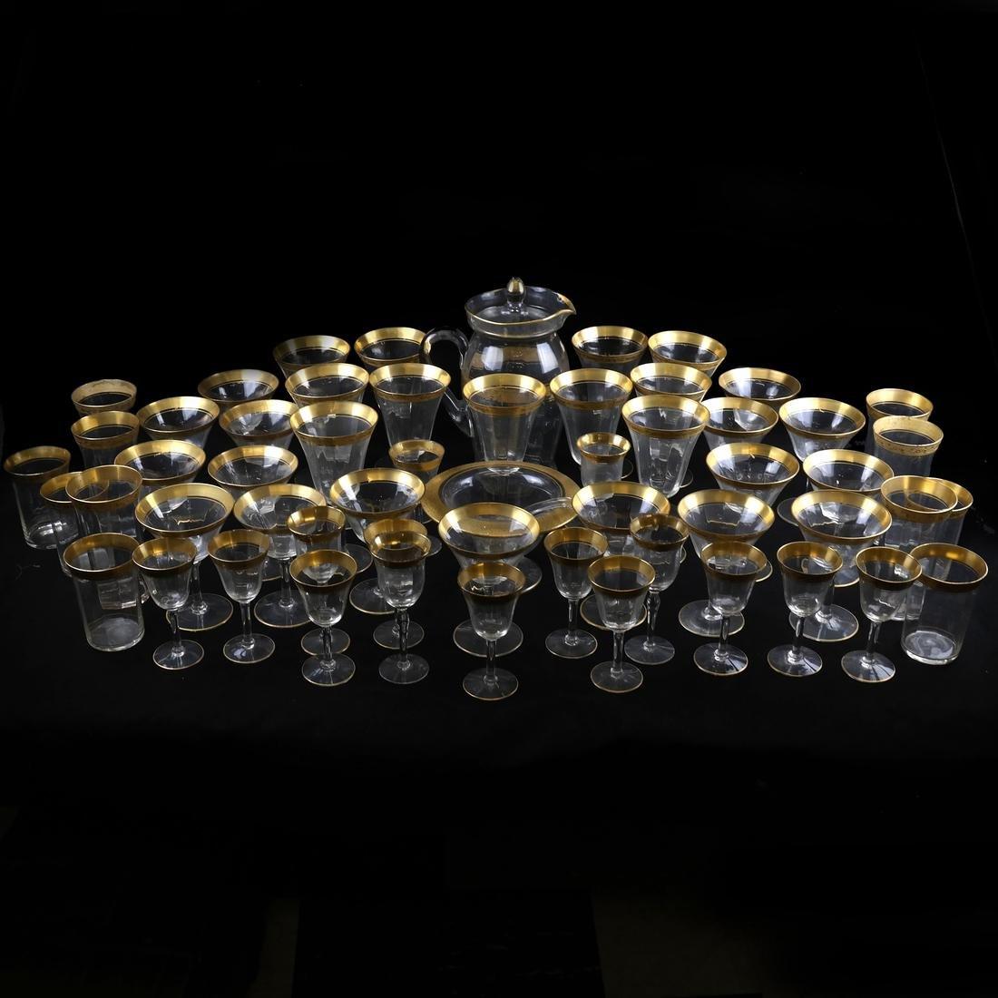 56 Various Gilt Rimmed Stemware