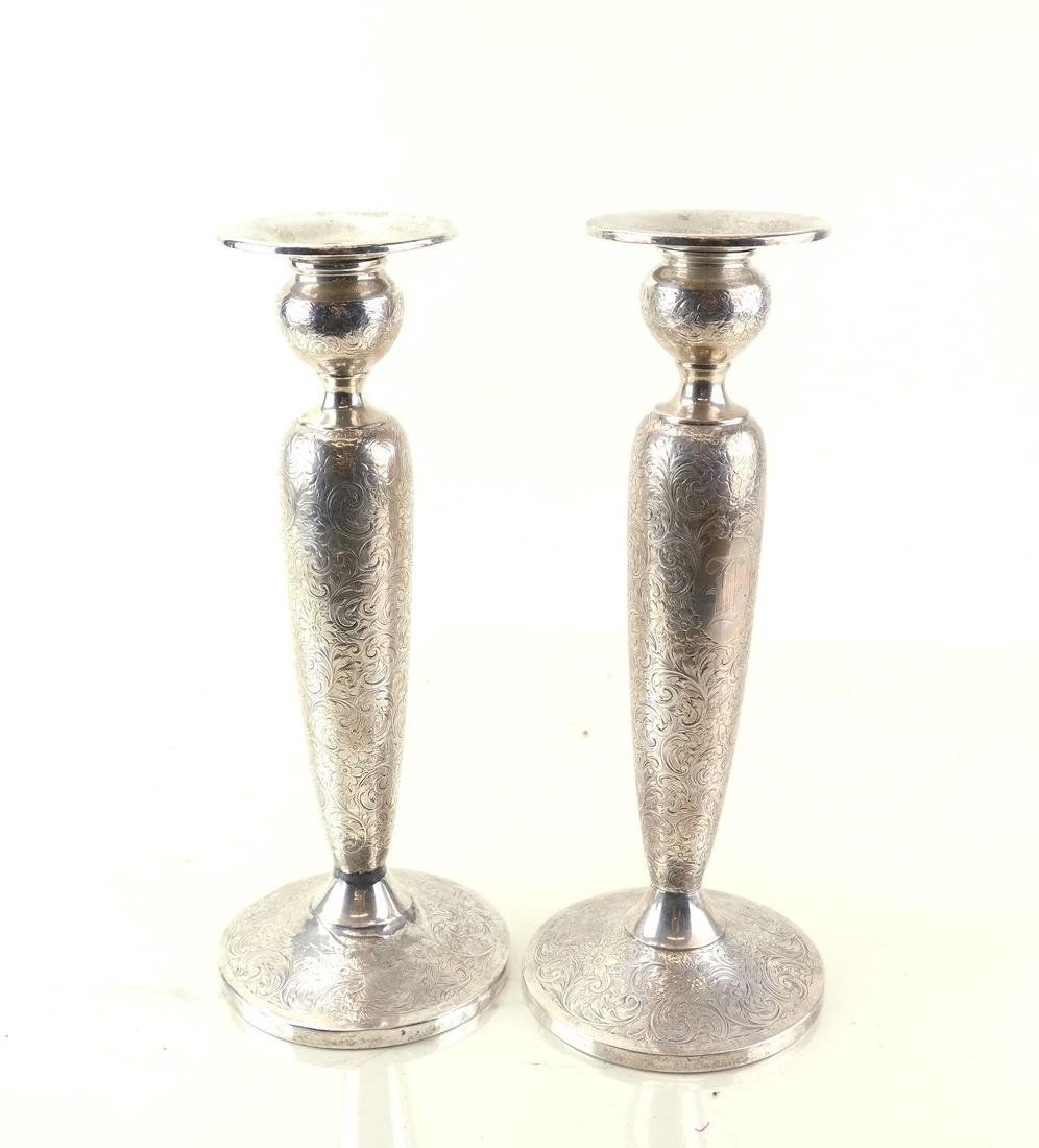 Pair American Sterling Tall Candlesticks