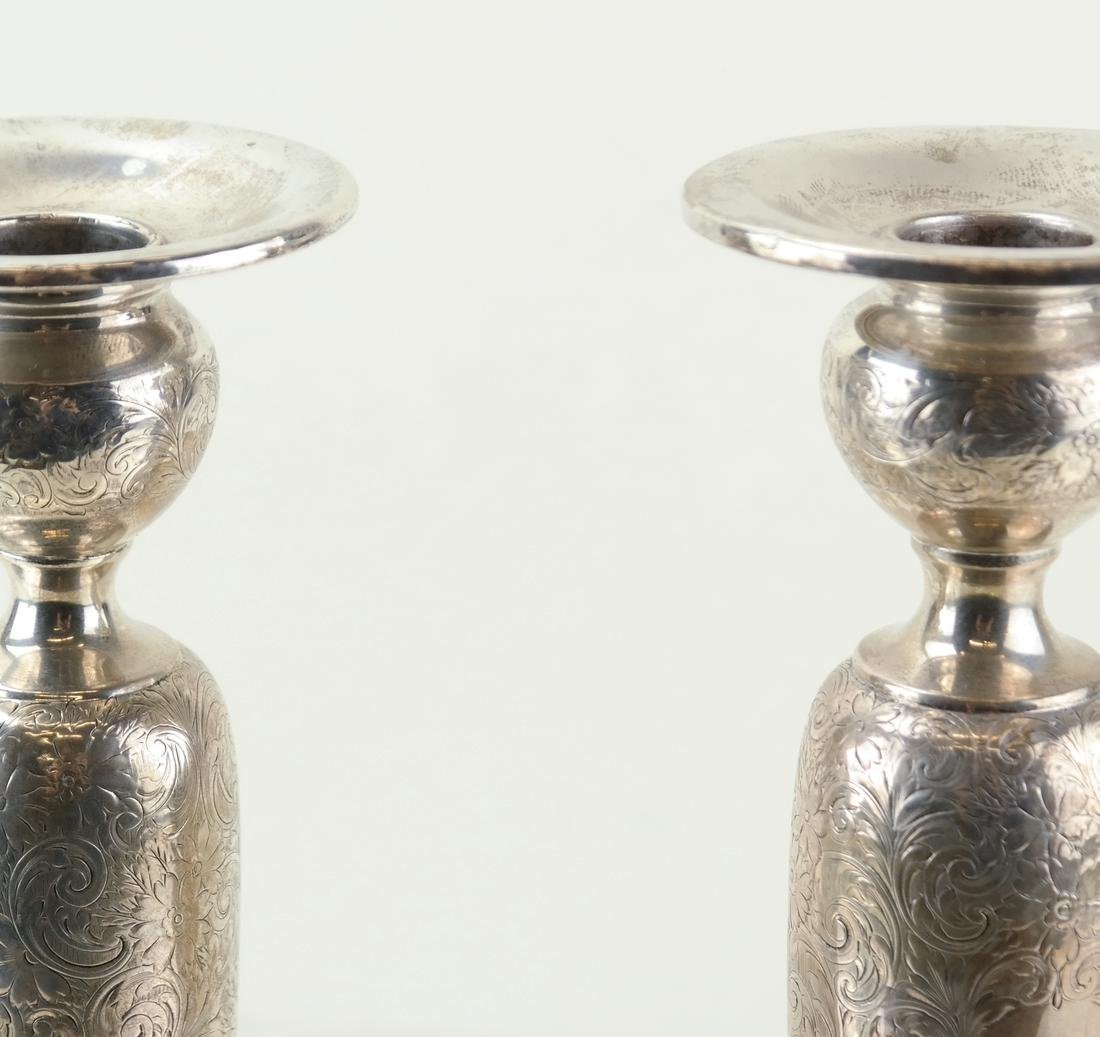 Pair American Sterling Tall Candlesticks - 2