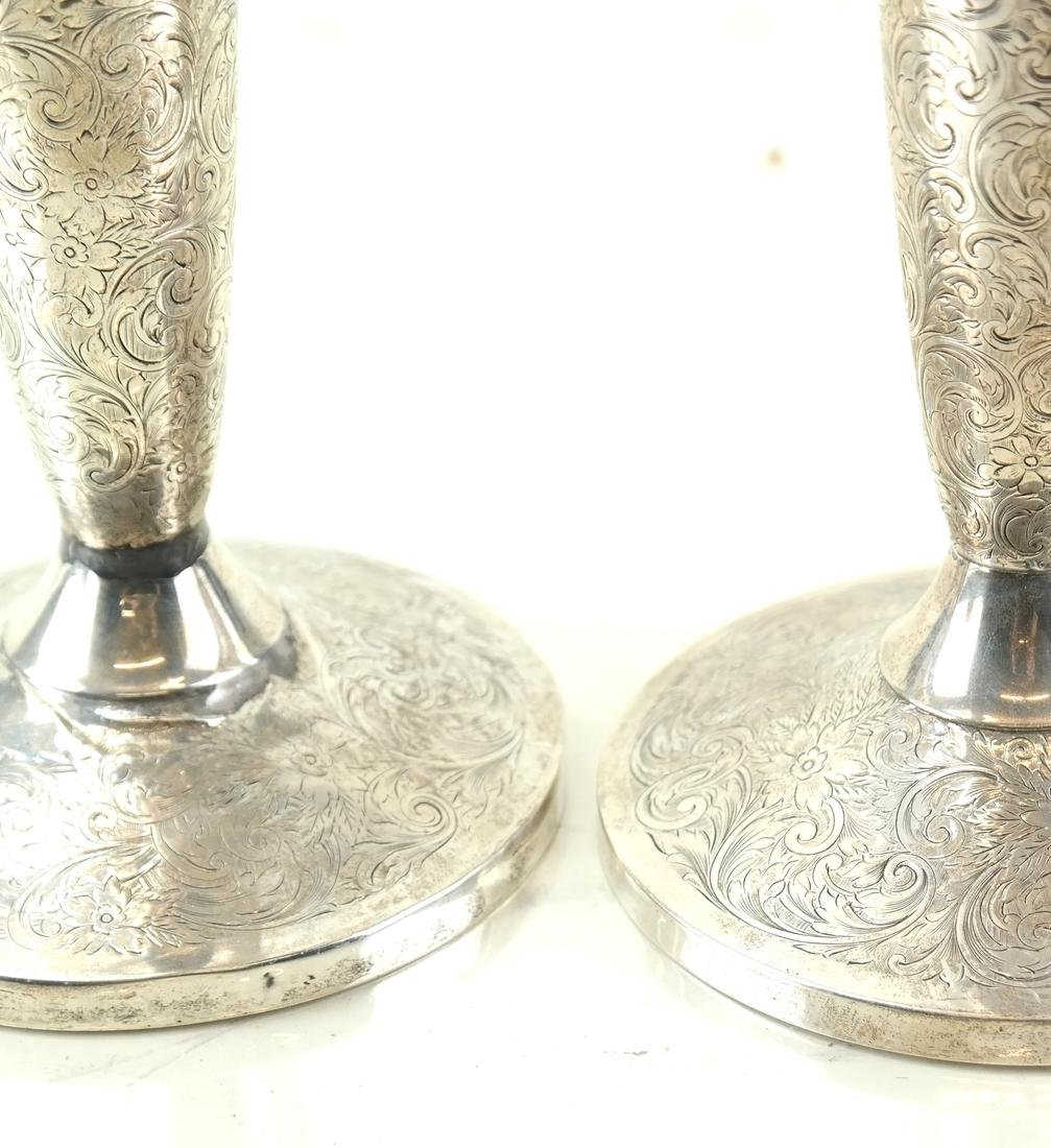 Pair American Sterling Tall Candlesticks - 3