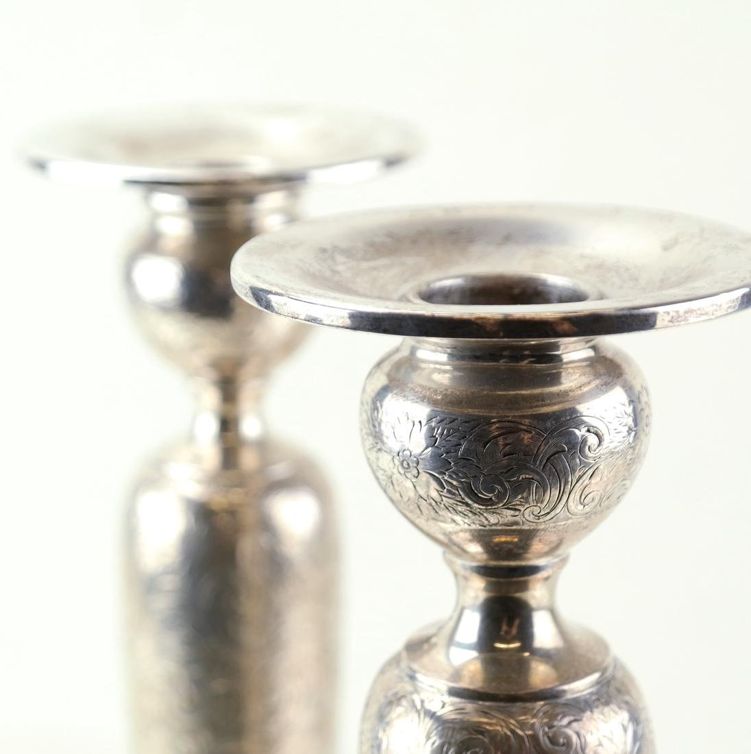 Pair American Sterling Tall Candlesticks - 6