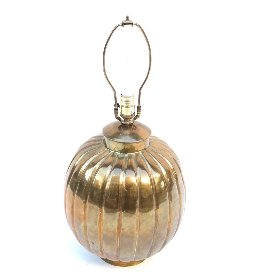 Gilt Copper Pumpkin-Form Lamp