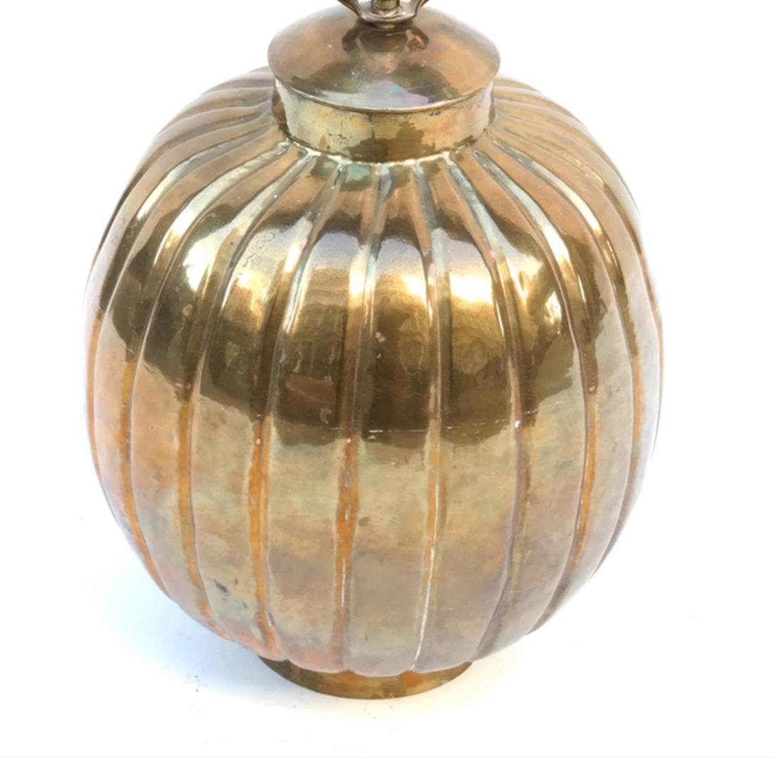 Gilt Copper Pumpkin-Form Lamp - 2