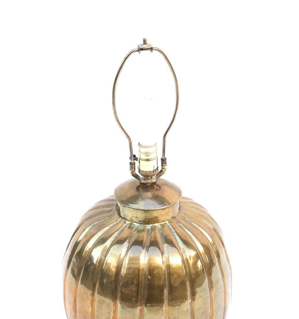 Gilt Copper Pumpkin-Form Lamp - 3