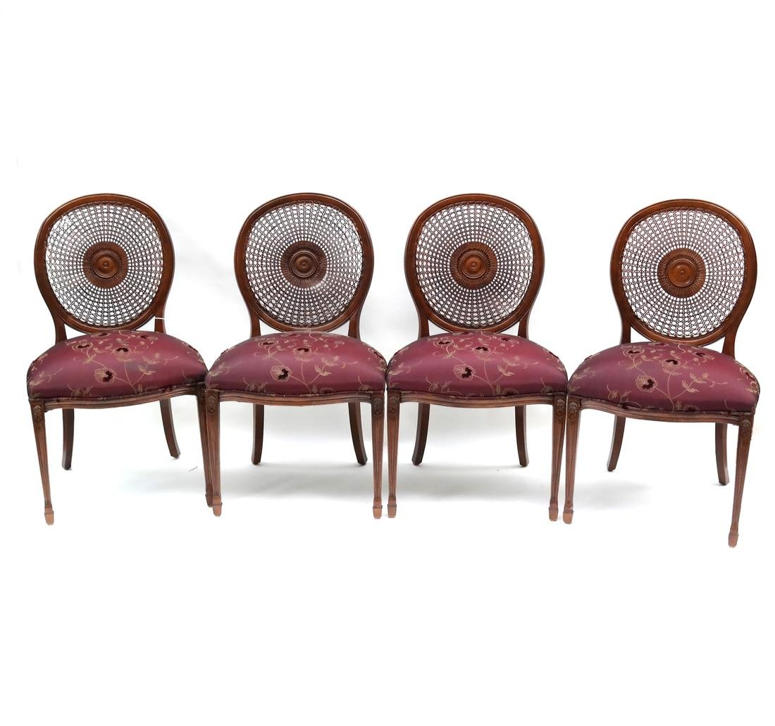 Set of Four Sheraton-Style Side Chairs