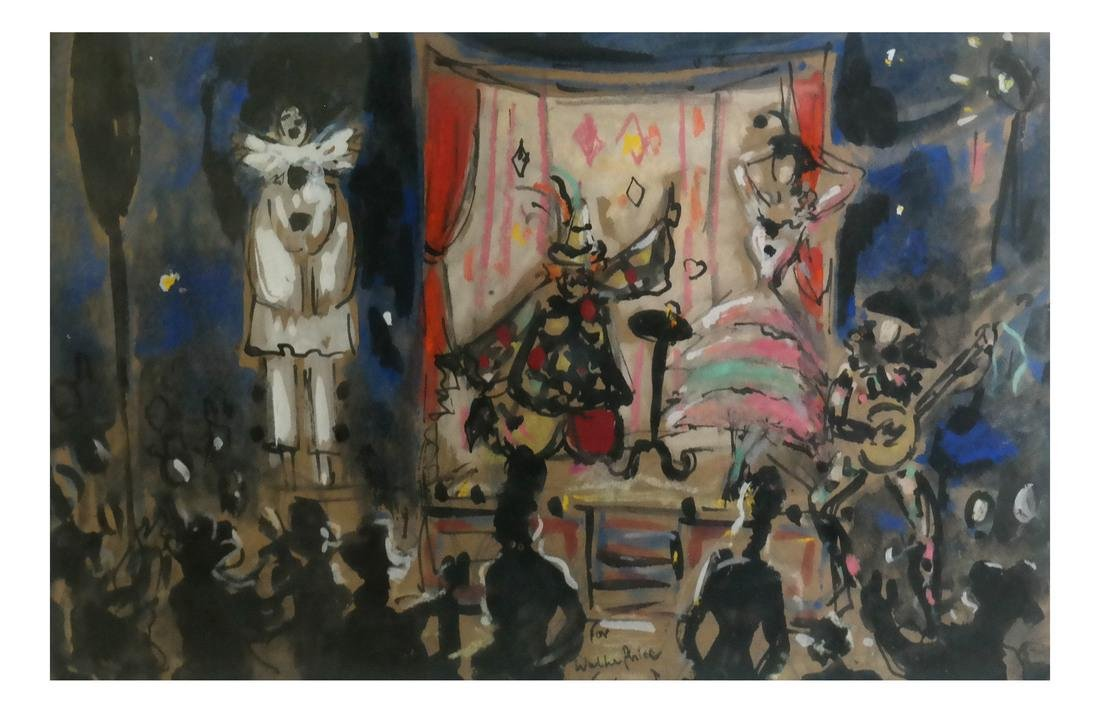 Geraud, Stage Scene, Gouache on Paper