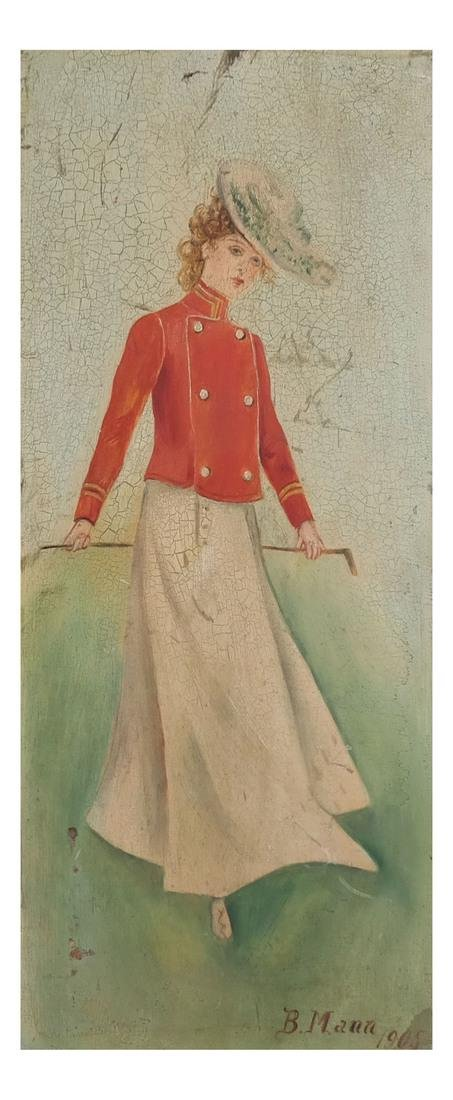 B Mann, Woman In Red, Oil on Board