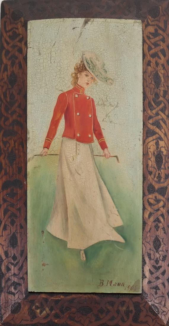 B Mann, Woman In Red, Oil on Board - 2