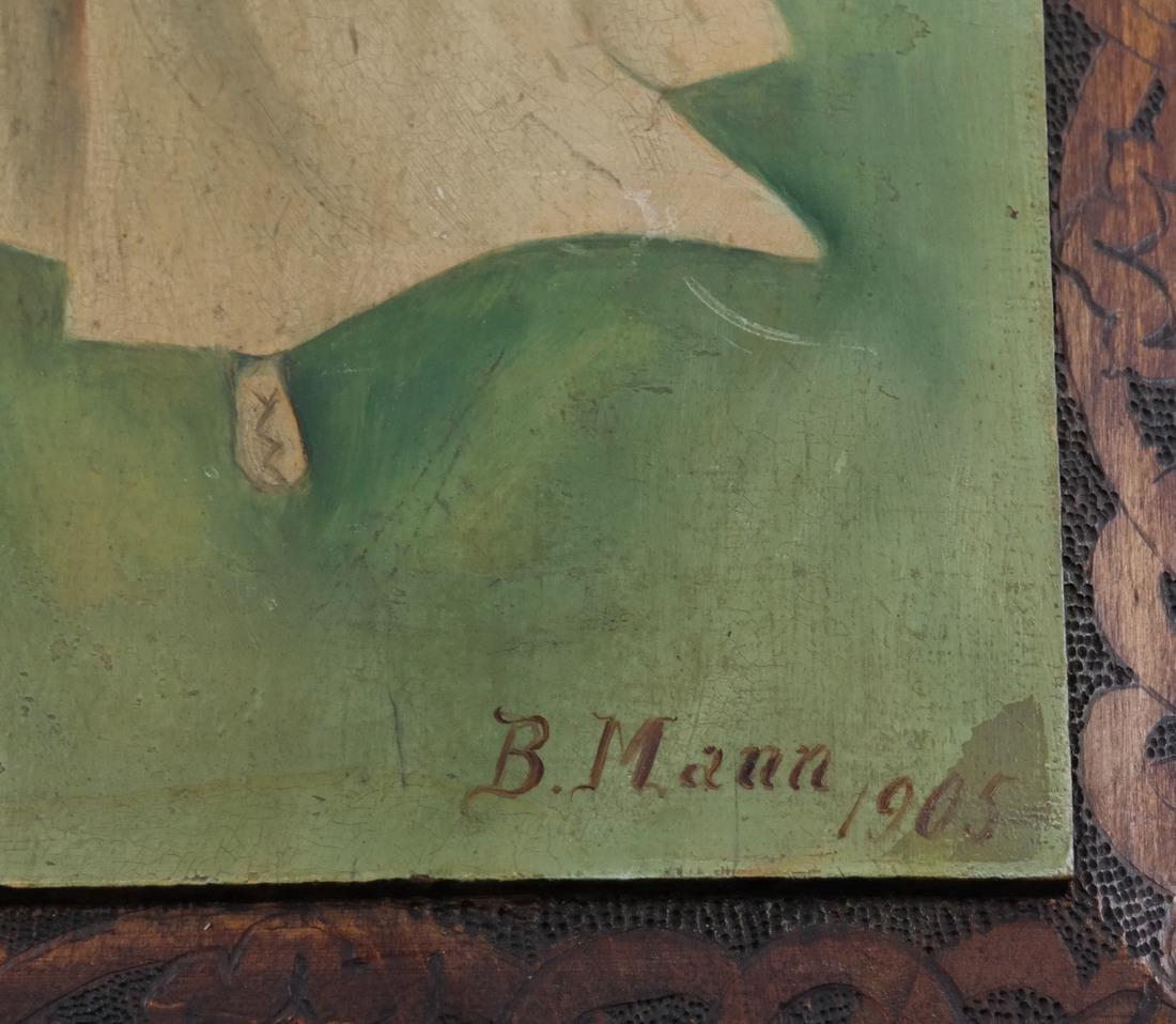 B Mann, Woman In Red, Oil on Board - 3
