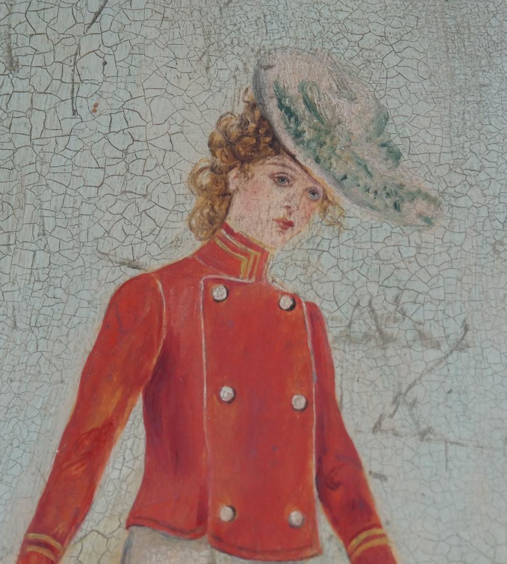 B Mann, Woman In Red, Oil on Board - 4