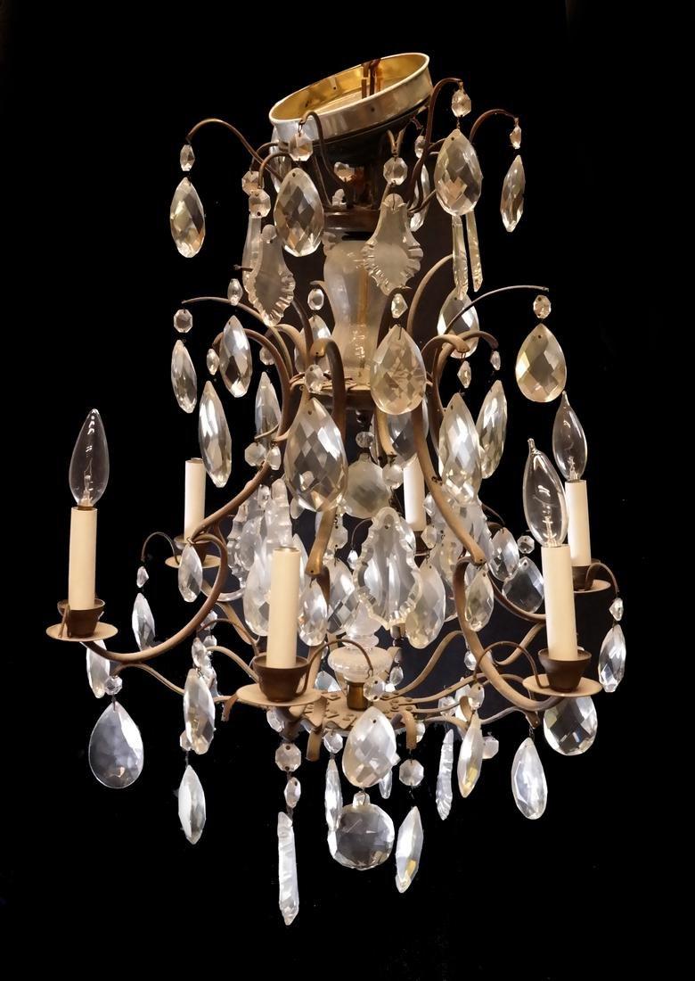 Six Light Brass Chandelier