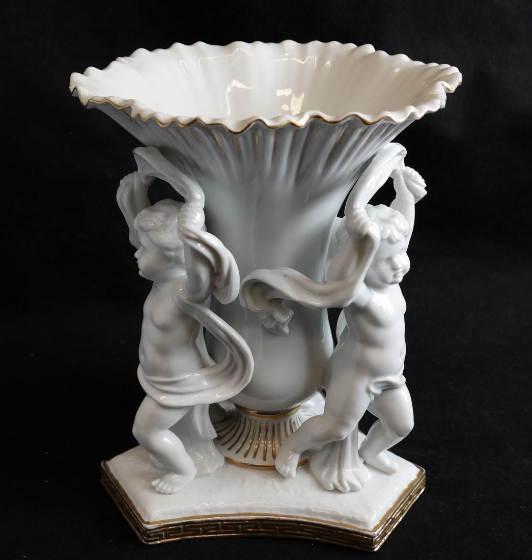Parcel Gilt Porcelain Figural Vase