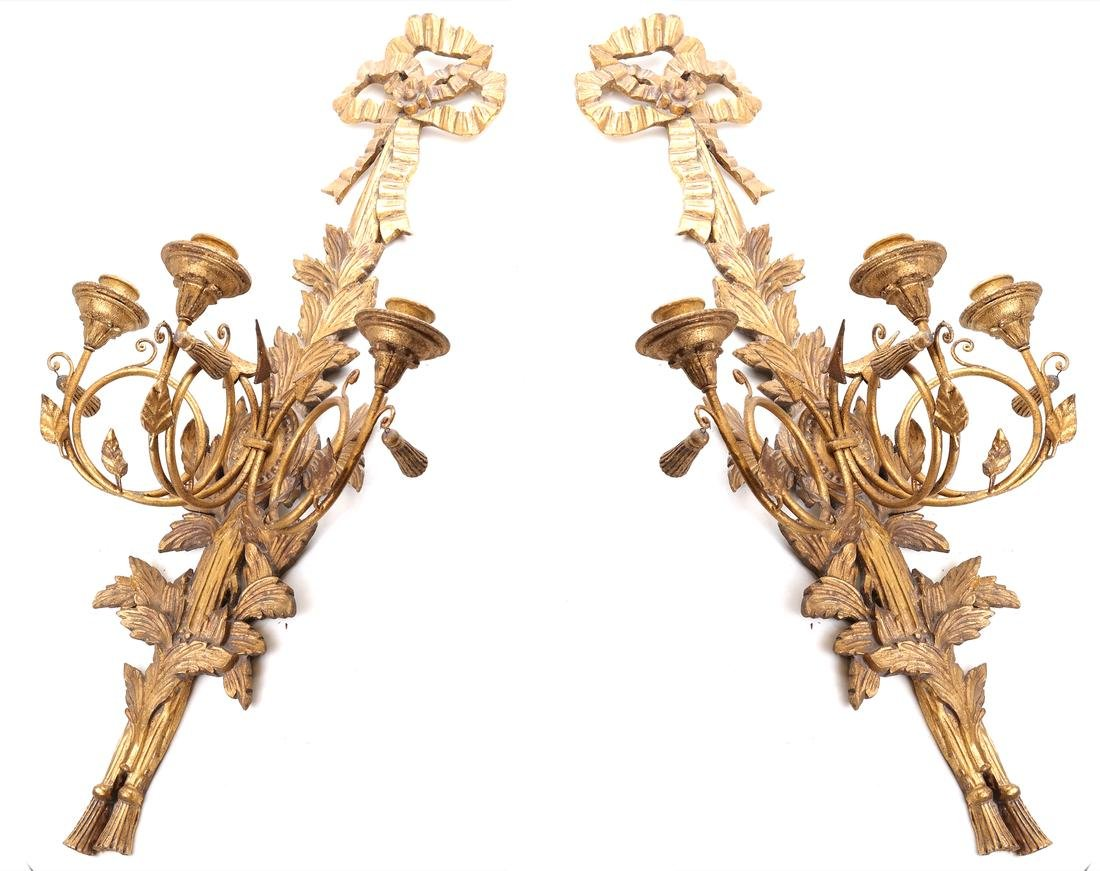 Pair of Gilt Decorated Sconces