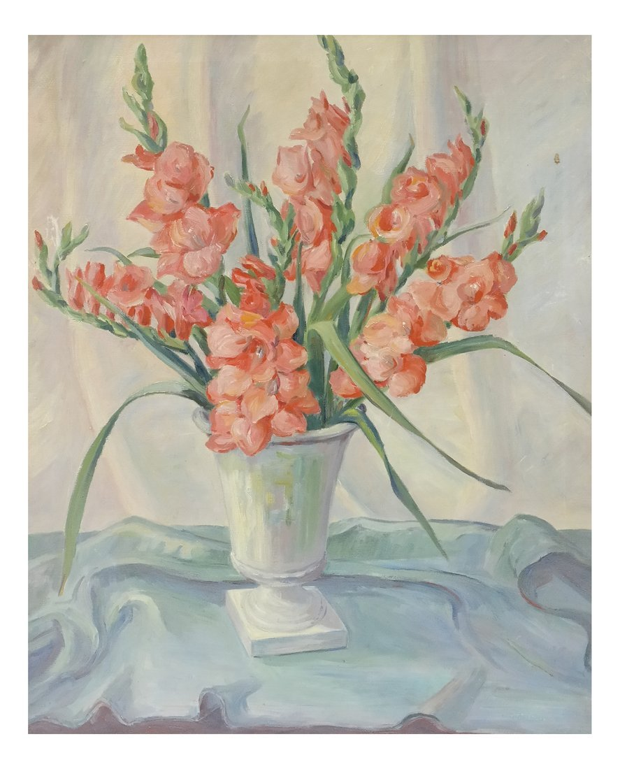 After A. Renard, A Vase of Gladiolas, Oil on Canvas