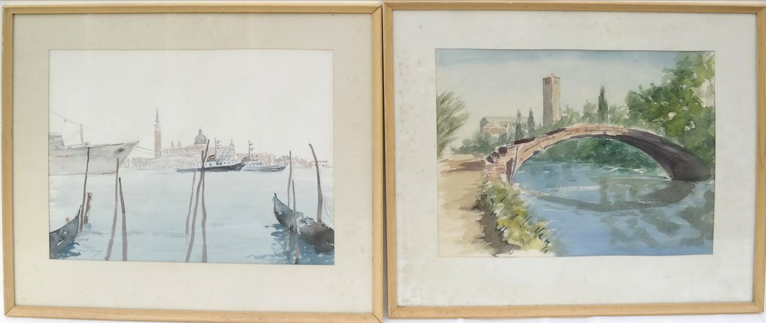 2 Italian Landscapes, Framed Watercolors