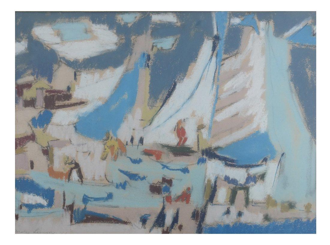 Framed Abstract Harbor Scene on Paper