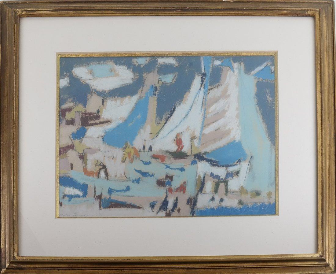 Framed Abstract Harbor Scene on Paper - 2