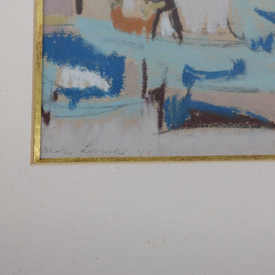 Framed Abstract Harbor Scene on Paper - 3