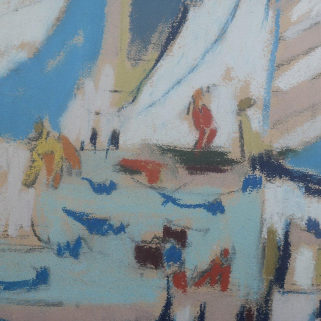 Framed Abstract Harbor Scene on Paper - 4